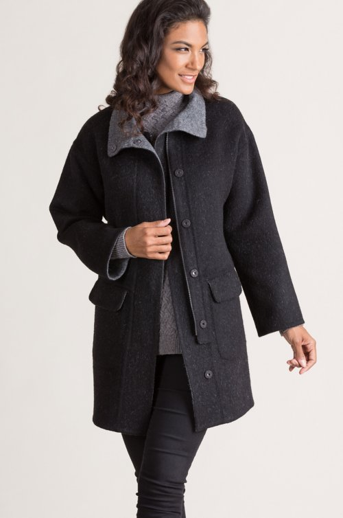 Urbana Alpaca Wool-Blend Car Coat