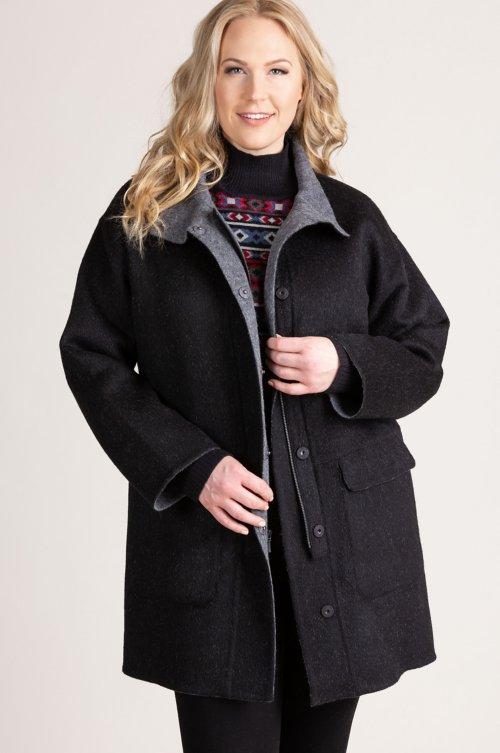 Urbana Alpaca Wool-Blend Car Coat (Plus 18-24)