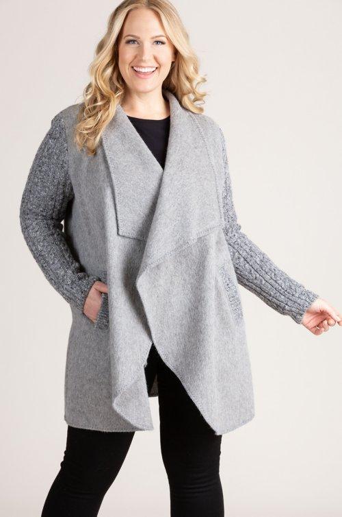 Belinda Alpaca Wool-Blend Sweater-Sleeve Coat - Plus (18-24)