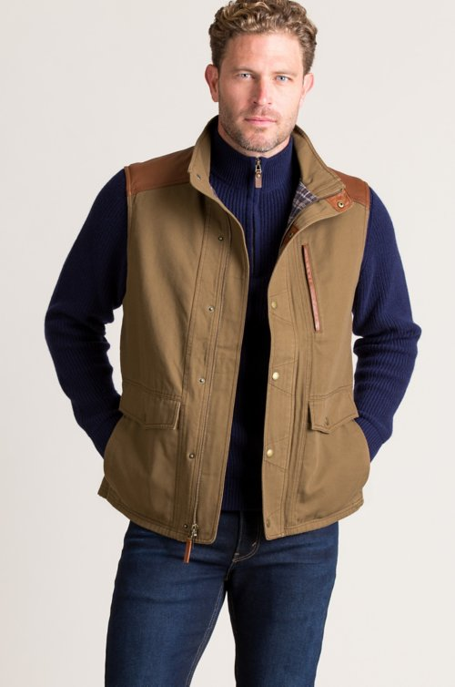 Leon Canvas Vest with Leather Trim
