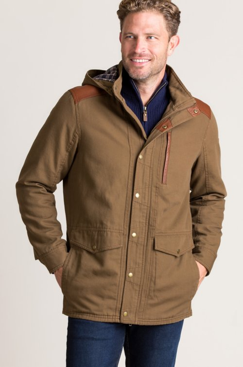 Leon Canvas Jacket with Leather Trim