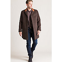Men's Vintage Style Coats and Jackets Theo Camel Wool-Blend Overcoat with Leather Collar $695.00 AT vintagedancer.com