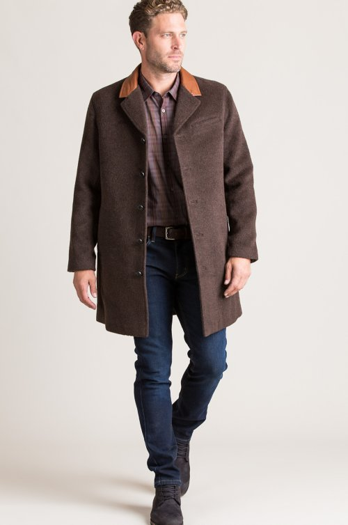 Theo Camel Wool-Blend Overcoat with Leather Collar