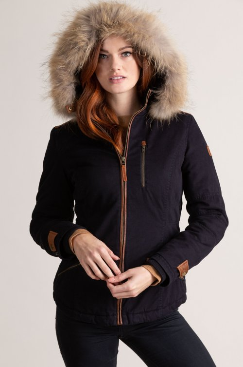 Aisling Cotton-Blend Jacket with Raccoon Fur Trim