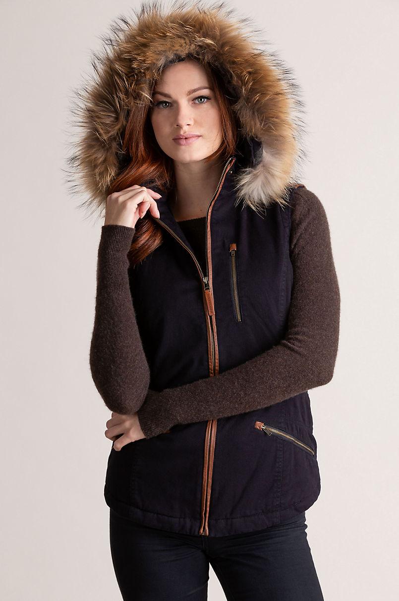 Aisling Cotton-Blend Vest with Raccoon Fur Trim