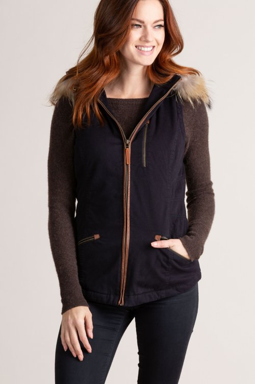 Aisling Cotton-Blend Vest with Raccoon Fur Trim