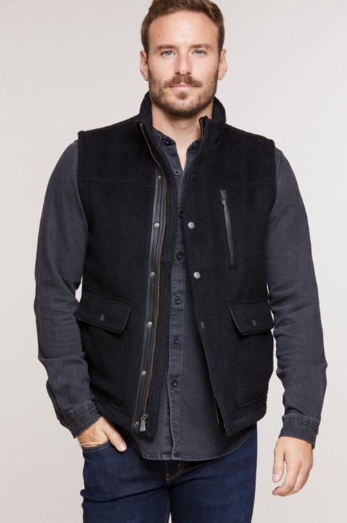 Lincoln Camel Hair and Wool-Blend Vest with Leather Trim