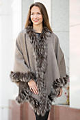 Misha Reversible Alpaca Wool Cape with Silver Fox Fur Trim