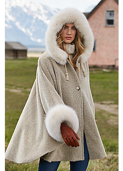 Skye Hooded Alpaca Wool Cape with Fox Fur Trim