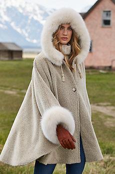 Skye Hooded Alpaca Wool Cape with Fox Fur Trim
