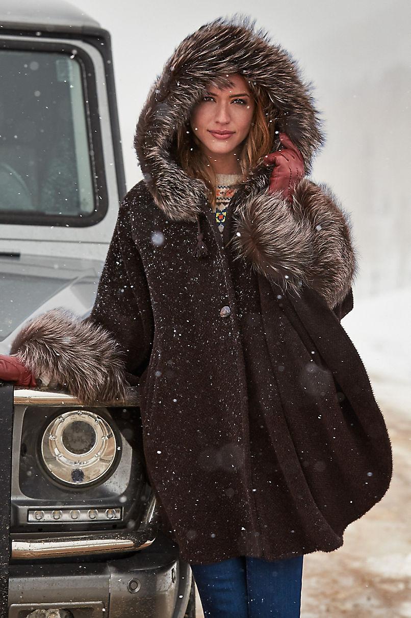 Ashby Hooded Alpaca Wool Cape with Fox Fur Trim
