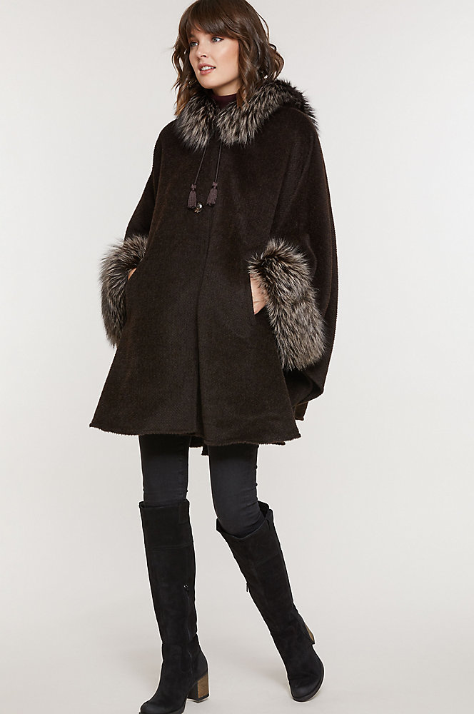Ashby Hooded Alpaca Wool Cape with Fox Fur Trim