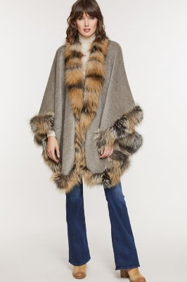 Abigail Alpaca Wool Cape with Cross Fox Fur Trim
