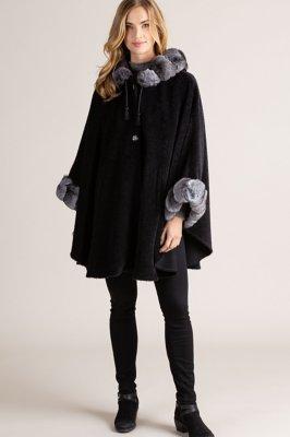 Louise Hooded Alpaca Wool Cape with Chinchilla Fur Trim
