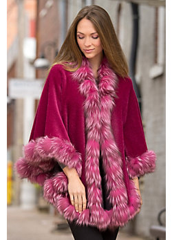 Henrietta Alpaca Wool Cape with Silver Fox Fur Trim
