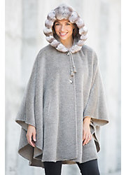 Annalisa Alpaca Wool Cape with Chinchilla Fur Trim