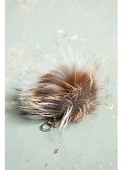 Silver Cross Dijon Fox Fur Pom Keychain