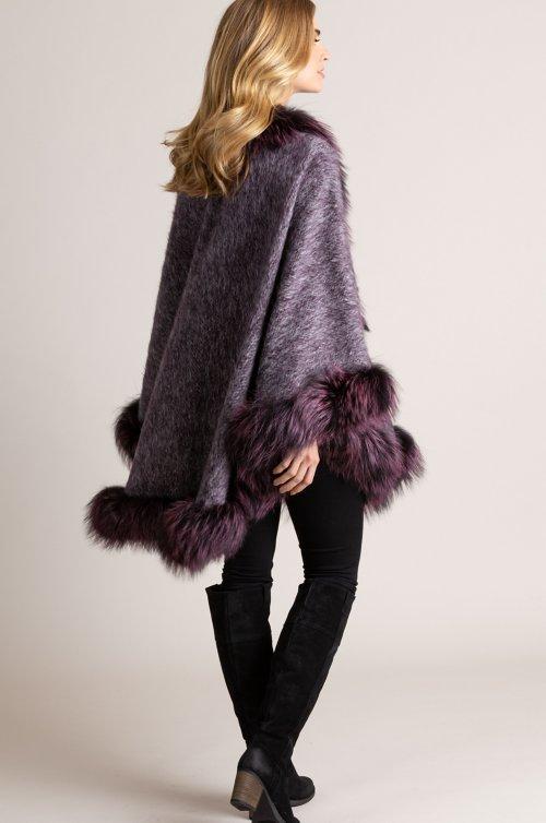 Delaney Italian Alpaca Wool Cape with Silver Fox Fur Trim