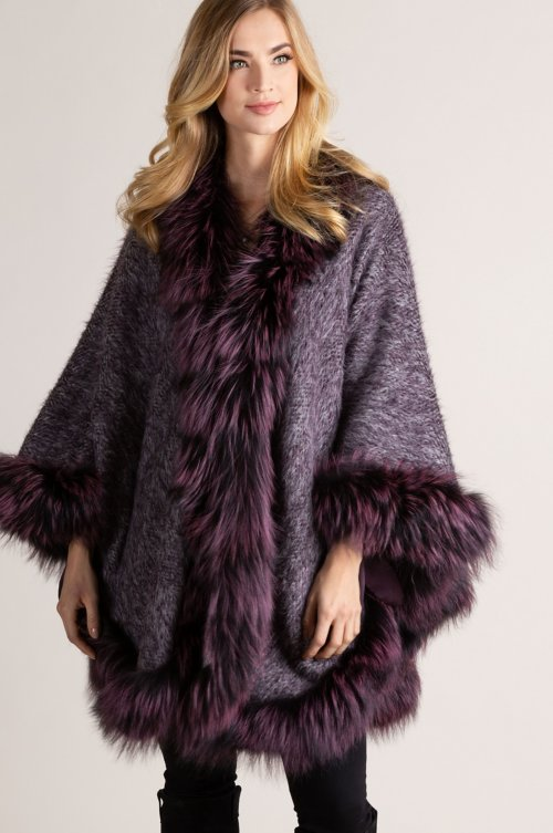 Delaney Italian Alpaca Wool Cape with Silver Fox Fur Trim
