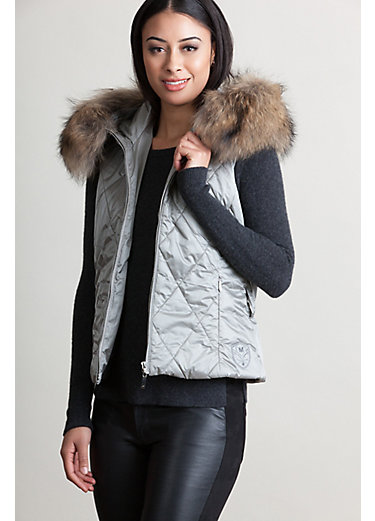 M. Miller Kym Hooded Vest with Raccoon Fur Trim