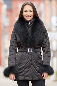 M. Miller Ana Coat with Raccoon Fur Trim