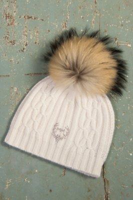 M. Miller Cashmere Cable Knit Hat with Detachable Raccoon Fur Pom