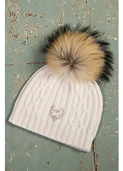 M. Miller Cashmere Cable Knit Hat with Detachable Raccoon Fur Pom
