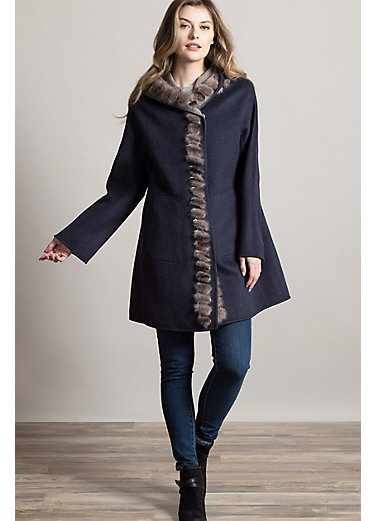 Audrey Reversible Wool and Cashmere Coat with Mink Fur Trim