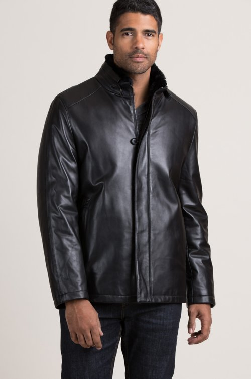 Stuart Lambskin Leather Coat with Removable Rabbit Fur Lining