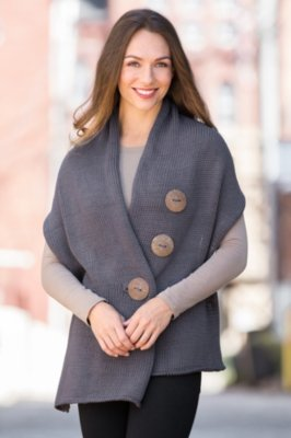 Pure Handknit Cotton Button Wrap