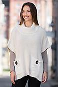 Pure Handknit Trend Pocket Cotton Poncho