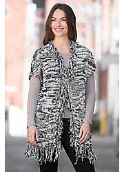 Pure Handknit Vintage Fringe Cotton Cardigan Sweater