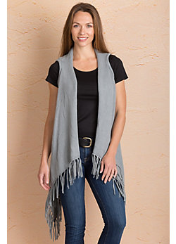 Mona Waterfall Cotton Open Sweater Vest