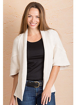 Eyes on the World Cotton Open Cardigan Sweater