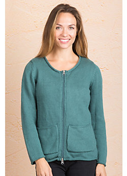 Sage Cotton Cardigan Sweater