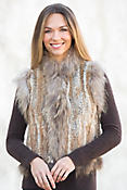 Laurel Knitted Rex Rabbit Fur Vest