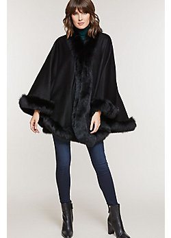 Jodie Cashmere Cape with Fox Fur Trim