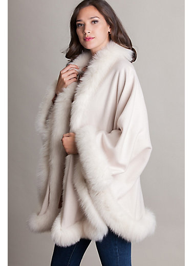 Jodie Cashmere Cape with Fox Fur Trim