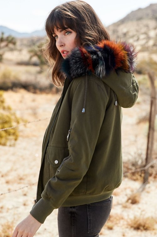 Dinah Rabbit Fur and Canvas Convertible Bomber Vest Jacket