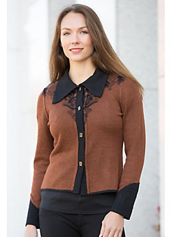 Marcella Two-Tone Alpaca Wool Cardigan Sweater