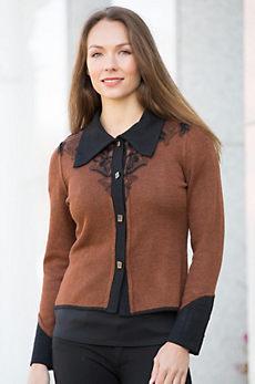 Marcella Two-Tone Alpaca Wool Cardigan Sweater