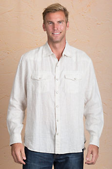 Tom Stone-Washed Striped Linen Shirt