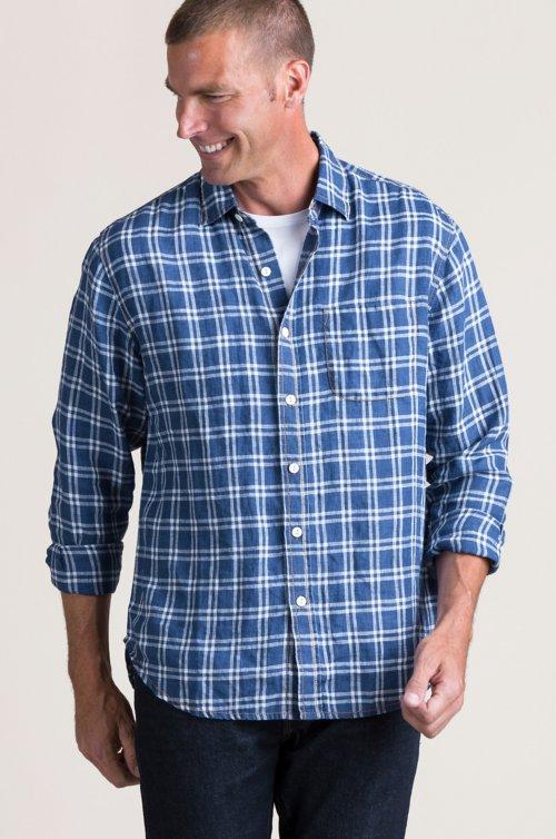 Nick Navy Plaid Cotton Shirt