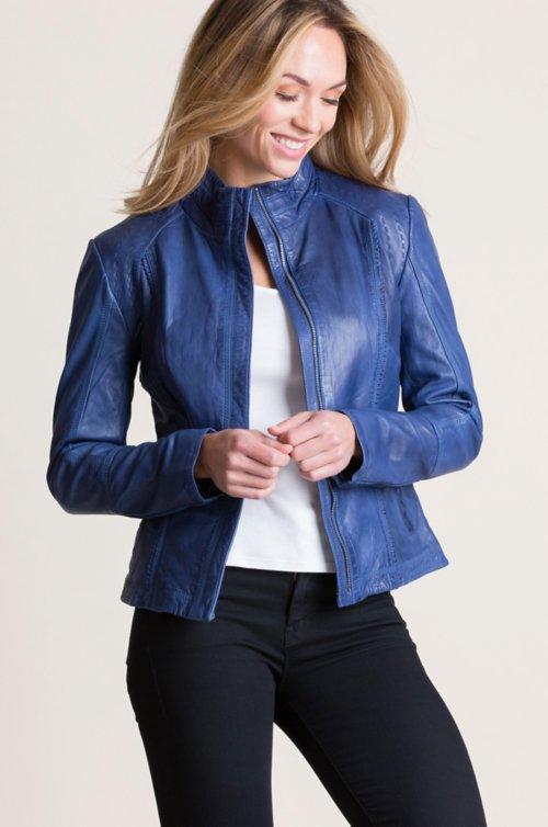 00a1a707aaf Azura Washed Lambskin Leather Jacket