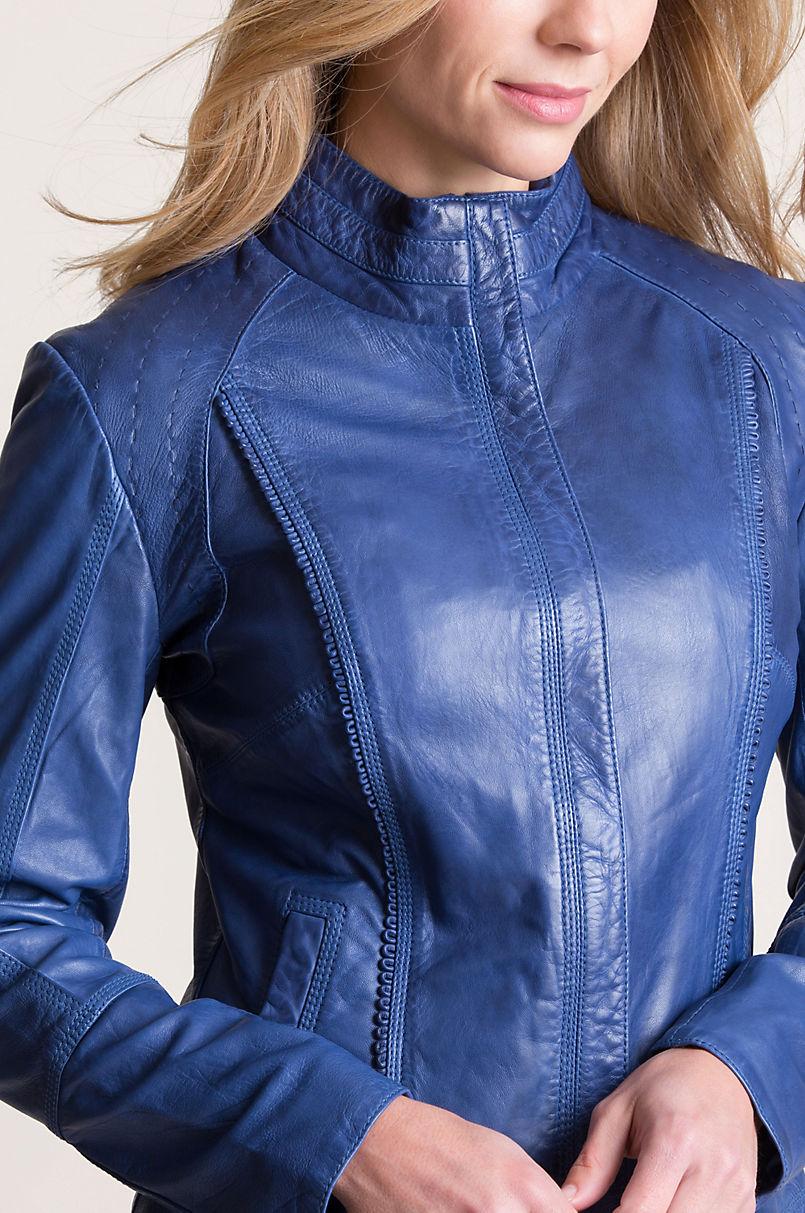 Azura Washed Lambskin Leather Jacket