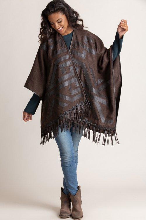 Lucinda Alpaca Wool Shawl with Lambskin Leather Trim