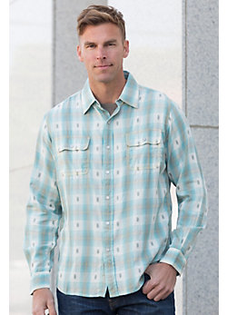 Ryan Michael Ombré Dobby Plaid Cotton Shirt