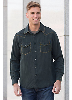 Ryan Michael Whipstitch Silk and Linen Shirt