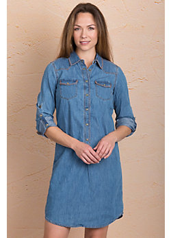 Ryan Michael Whipstitch Denim Shirt Dress