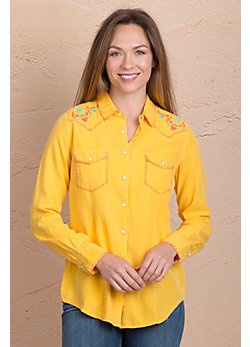 Ryan Michael Whipstitch Embroidered Silk Cotton-Blend Shirt